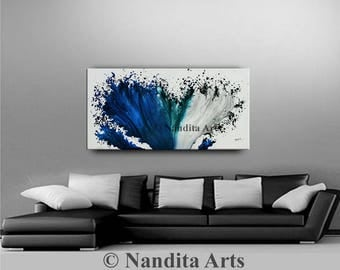 Abstract Painting Large Modern Art Contemporary Paintings White Black Blue wall art decor 48 Ready to Hang Artist Nandita