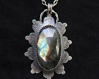 Beautiful Faceted Labradorite Stone in Silversmithed, Feather Imprinted Sterling and Fine Silver Setting w/ Textured Sterling Chain
