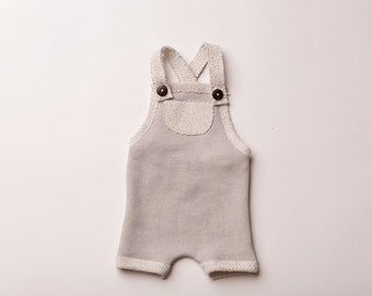 "Newborn Boy Romper- ""Timothy""  in grey newborn romper, overalls, baby photo prop, baby boy, newborn romper,"
