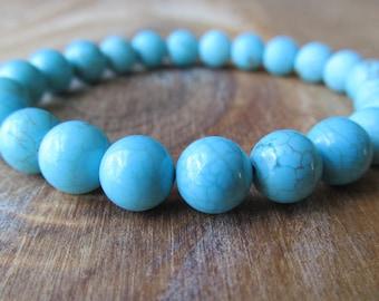 Turquoise Bracelet, Half Matte Turquoise Magnesite - Half Shiny Turquoise Magnesite, Stacking Bracelet, Layering Bracelet, Chunky Blue