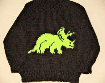 "Hand Knitted Dinosaur Jumper  chest 25""/63cm"