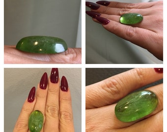 33.95cts Natural Green Peridot Giant oval shape cabochon cut. Natural Huge Gemstone.
