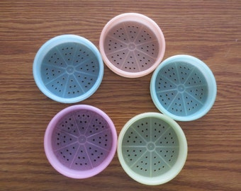 Vintage Tupperware Wagon Wheel Pastel Coasters, Set of 5 Tupperare Pastel Coasters