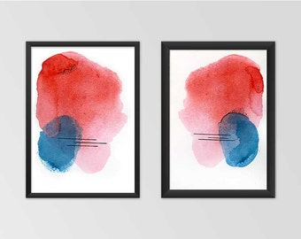 Red Watercolor Print Set. Colorful Red Print Set. Watercolor Print Set. Abstract Watercolor Print.