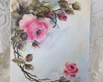 Handpainted shabby chic pink roses blue background oil on canvas 8 x 10