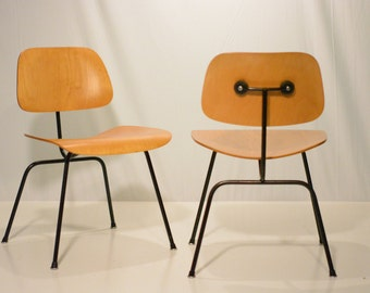 Pair of Eames Herman Miller DCM Chairs