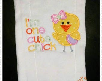 Personilized Girl's Easter Chick Burp Cloth-Monogrammed  Appliqué