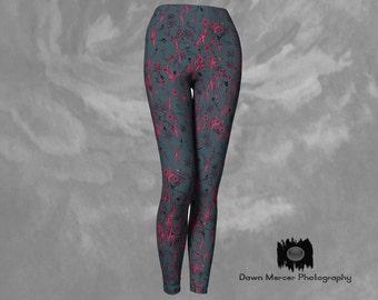 Floral Leggings Floral Yoga Leggings Grey Leggings Premium Leggings Print Tights Leggings For Ladies Grey Printed Leggings Floral Design