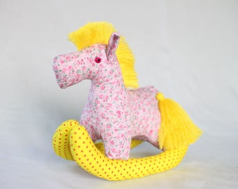 Rocking Pony, baby horse, Plush, Baby - Colorful, Cute, Baby Shower, Cotton Fabric, Yellow, Pink, Floral Patter