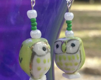 Handmade Green Owl Earrings