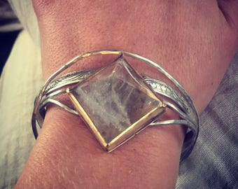 Quartz pyramid stacking silver cuff bracelet / raw crystal handmade jewelry