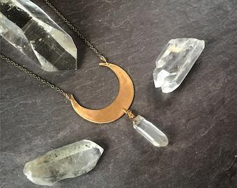 Brass moon raw crystal quartz necklace / handmade jewelry