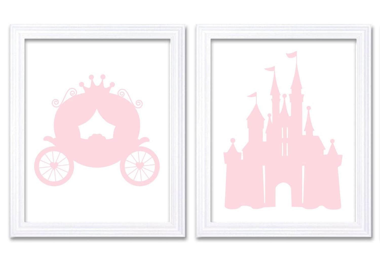 Light Pink White Carriage Castle Print Child Baby Art Prints Set of 2 Girl Art Nursery Fairy Tale Pr