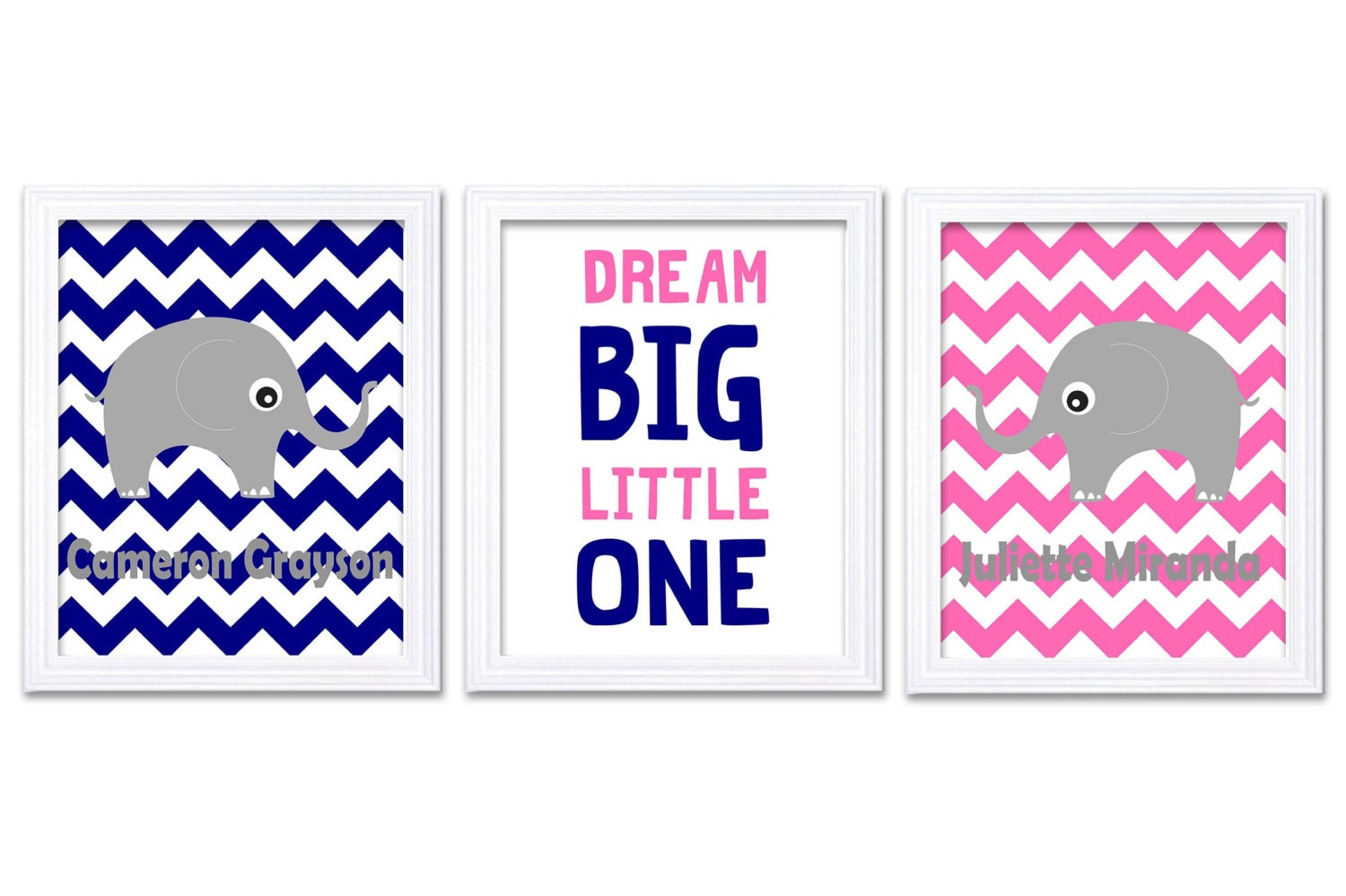 Navy Blue Hot Pink Elephant Boy Girl Twins Nursery Art Print Dream Big Little One Personalized Name