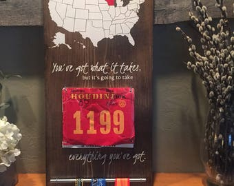 Run 50 States Sign//Running Challenge Sign//Bib and Medal Display