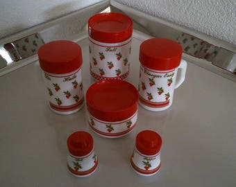 Vintage Italian milk glass condiment/cruet set cherry print