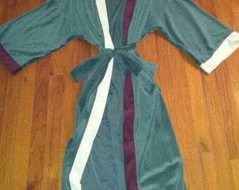 Rare Vintage Christian Dior Robe Smoking Jacket Velour playboy style color block one size