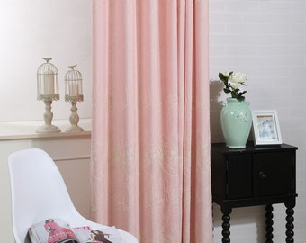 Ellen floral hemp embroidery curtains- Soft pink colour