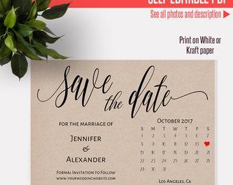 NOVEMBER 2017 Save the Date Printable Wedding template Save