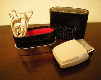 men schick razor-razor and black box-cleaning brush-bathroom decor-chrome and white-retro-