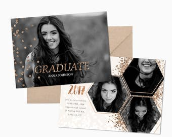 Graduation Announcement Template, Rose Gold Graduation Invitation Template, Blush Pink, Photo Marketing Template, PSD Template, Grad