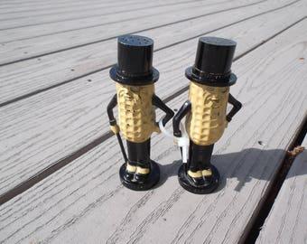 Vintage Planters Mr Peanut Salt & Pepper Shakers Set Marked Pyro On Stopper USA