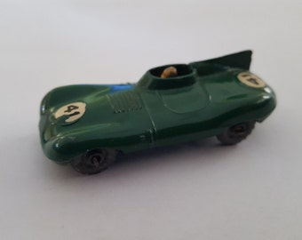 Vintage Matchbox series No 41 D Type Jaguar British Racing Green grey tires, Made in England by Lesney condition 8