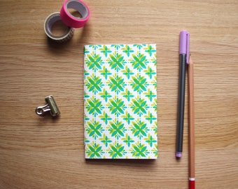 Starflower Pattern Screen Printed Hand Sewn Blank Notebook - Journal - Notepad 90x148mm - 30 Plain Pages (60 sides)