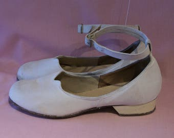Reserved**Adorable 1940s CC41 round toe canvas day shoes w/ankle straps US 5 1/2 - 6   UK 3 1/2 - 4