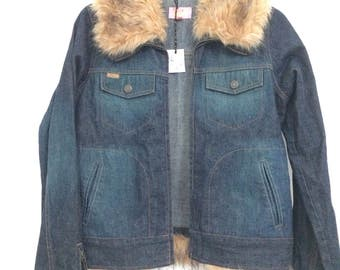 1970's style denim jacket with faux fur collar and cuffs
