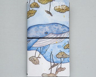 Whale and Lotus Leaf Traveler's Notebook - Faux Leather notebook, Refillable Journal, Journal Planner