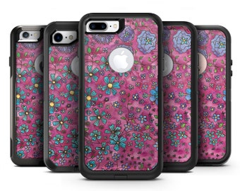 Floral Pattern on Wine Watercolor - OtterBox Case Skin-Kit for the iPhone, Galaxy & More