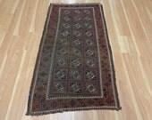 Oriental Rug Baluch 3' x 5' 7 Antique Worn Wool Brown Area Rug
