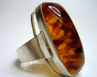 ART DECO silver ring with amber cabochon around 1935