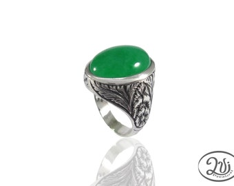 ring chevalier ring stone jade, women silver burnished 925