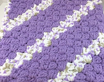 Corner to Corner Lilac Crochet Baby Blanket, Super Soft Big Bulky Yarn Baby Afghan, Bulky Baby Throw,  Chenille-Style Blanket, CA#17