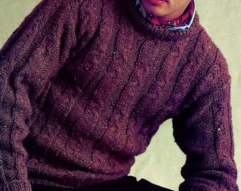 Men's Crewneck Cabled Sweater Vintage Knitting Pattern Download