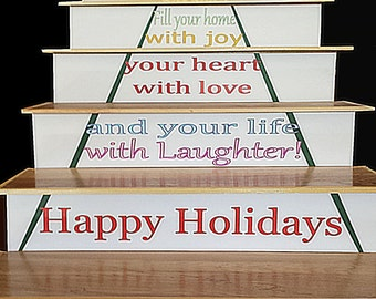 Holiday Design Easy To Install Stair Riser Insert Christmas Tree W/ Holiday  Message. No
