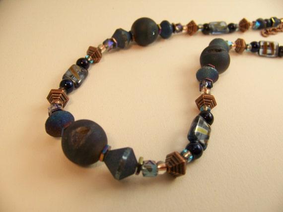 Blue Druzy Necklace,Geode Jewelry,Stone Necklace,Natural Stone Jewelry,Geometric Necklace#117