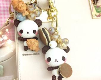 Chocolate Panda Bears, kawaii bag charms, japanese sweets, kawaii foods, dorayaki food lovers, Ready to ship