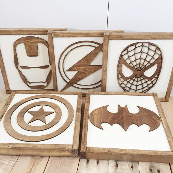 superhero sign superhero wall art boys bedroom decor. Black Bedroom Furniture Sets. Home Design Ideas