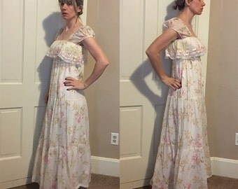 Vintage BOHO Hippie MAXI Peasant PRAIRIE 70's Gunnies Style Dress