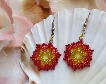 Red Orange, Gold and Yellow Sunny Sunshine Ombre, Seed Beads, Beaded Boho Earrings