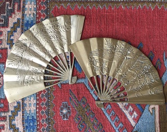 Pair of Brass Oriental Fan Wall Hangings