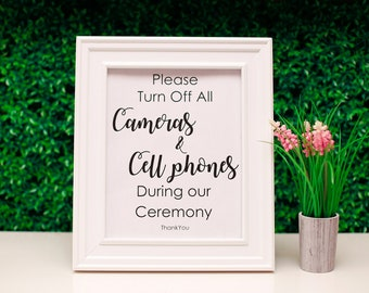 Please turn off all Cameras & Cell Phones during Our Ceremony. Wedding Sign. Instant Download