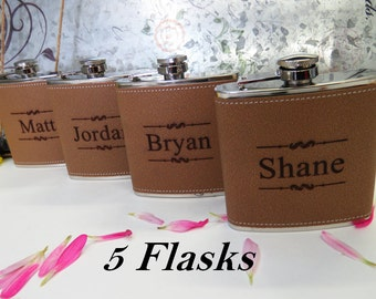 Groomsmen Gift, Engraved Hip Flask, Groomsmen Flask, Personalized Flask, Best Man Gift, Bridal Party, Wedding Party Gift, 5 Flasks