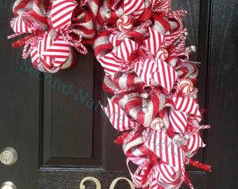 Deco Mesh Candy Cane Shaped Christmas Wreath - Candy Cane Christmas Wreath