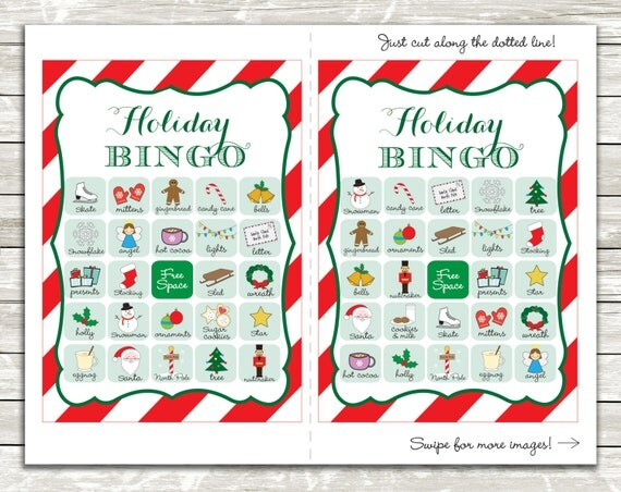 Holiday Bingo cards, 20 unique Christmas theme game cards, Printable Instant download!