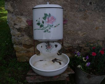 a french antique enameled water fountain and lavabo , around 1900 , nice condition