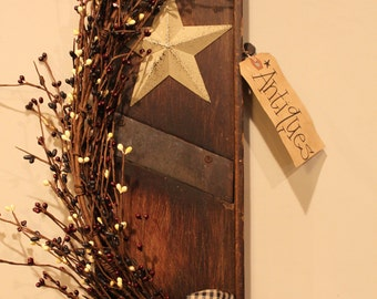 Decorated Antique Wooden Cabbage Slaw Cutter with Star, Berries and Kraft Tag